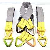 """(Pack of 4) 24"""" Tied Down Axle Straps with Protective Sleeve and Delta Ring - 10,000b Load Capacity"""