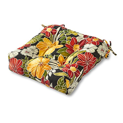 Tropical Cushion - Greendale Home Fashions Indoor/Outdoor Chair Cushion, 20-Inch, Black