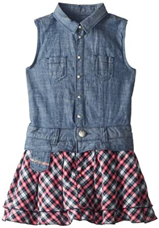 Diesel Little Girls' Dominu Chambray Dress with Check Skirt, Magenta, X-Small
