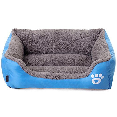spring fever ultrasoft paw print pet water resistant rectangle orthopedic snuggle dog cat warm pet bed d blue s inch