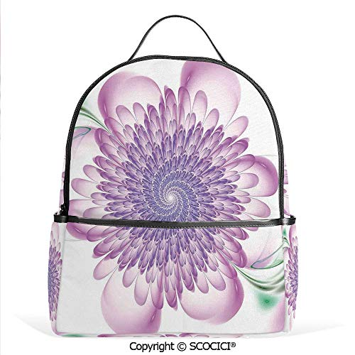 Hypnotic Violet - Casual Fashion Backpack Floral Harmonic Spirals with Flourishing Hypnotic Vision Petals Dreamy Print,Violet,Mini Daypack for Women & Girls