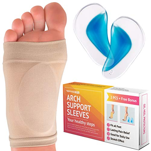 Metatarsal Compression Arch Support Sleeve - 2 Piece - Cushioned Arch Support Soft Elastic Reusable Gel Pad Fabric Arch Socks for Flat Foot Pain Relief Plantar Fasciitis Heel Spurs - Women Men (Best Foot Arch Support)