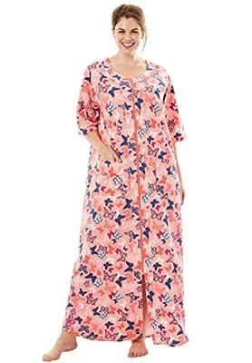 Dreams & Co. Women's Plus Size Long French Terry Robe