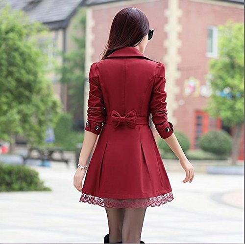 Lingswallow Women's Elegant Double Breasted Lace Hem Trench Coat Jacket Red by Lingswallow (Image #2)