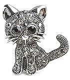 RoseSummer Jewelry Women's Crystal Cat Pin Brooch