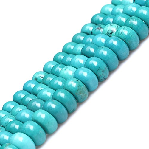 Turquoise Beads for Jewelry Making Gemstone Semi Precious 4x10mm Rondelle Blue 15
