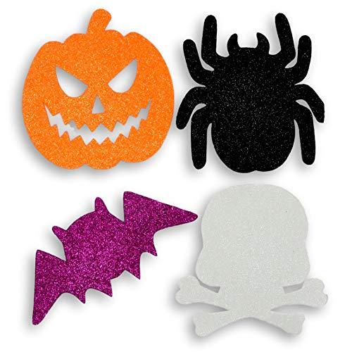 Fright Night Large Halloween Character Glitter Foam Shapes - Craft Supplies Party Decoration Set - Pumpkin Jack o Lantern Spider Bat Skull - 40 Pieces