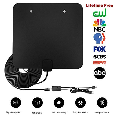 Indoor Antenna, TV Digital HD 2018 Newest Best Antennas, 1080P 4K High Definition 50 - 80 Miles Long Range Reception Digital Full HD TV Antenna with Amplifier Signal Booster 13.3FT Coaxial Cable