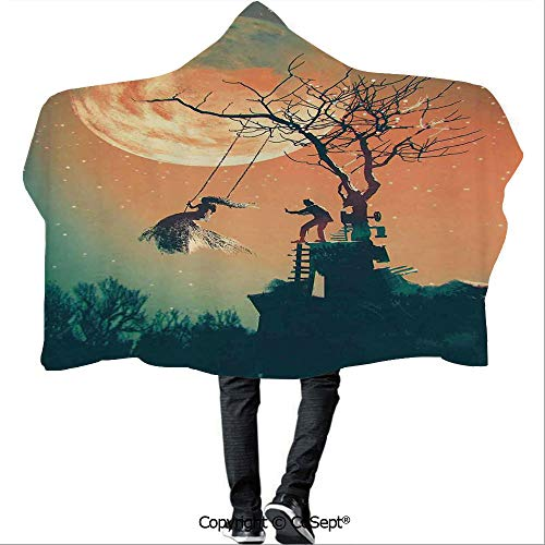 SCOCICI Hooded Blankets,Spooky Night Zombie Bride and Groom Lady on Swing Under Starry Sky Full Moon,Unisex All Ages One Size Fits All(59.05x43.30 inch),Orange Teal