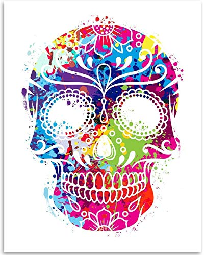 Watercolor Sugar Skull - 11x14 Unframed Art Print - Great Dia de los Muertos Decor, Also Makes a Great Gift Under $15 ()