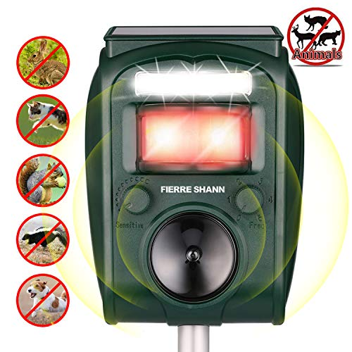Fierre Shann Ultrasonic Animal Repeller,Waterproof Outdoor Motion PIR Sensor and Flashing Light for Birds, Raccoons, Squirrels, Foxes, Rats, etc.