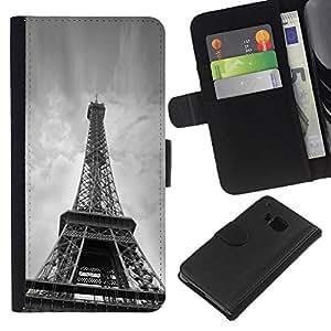Planetar® Modelo colorido cuero carpeta tirón caso cubierta piel Holster Funda protección Para HTC One M7 ( Architecture Eiffel Tower Below )