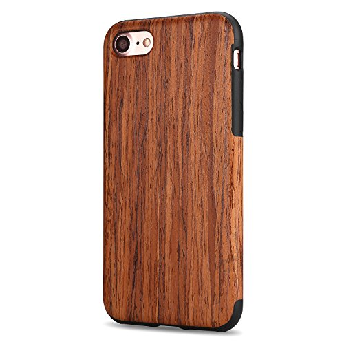 iPhone 7 Case, TENDLIN [Exact-Fit] Natural Wood Back Flexible TPU Silicone Hybrid...