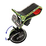 EVTECH(TM) Universal Luxury Transparent Colorful Bling Handmade Crystal Diamond Rhinestones Universal Multi-function Portable 360 Degree Rotating Suction Cup Mini Desk Car Mount Clip Stand Holder Car Windshield & Dashboard Mount for Smartphones Mobile Phones Touchscreen Tablet Digital Device GPS PDA (Not bigger than Galaxy Mega 6.3) (100% Handcrafted) (Black)