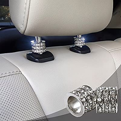Icy Crystal Car Seat Headrest Decoration Charms, Bling Car Accessories For Women, Car Bling Car Charms For Seat, Rhinestone For Car Interior Accessories, Bling Car Decor Headrest Collars (Square 2 pc): Automotive