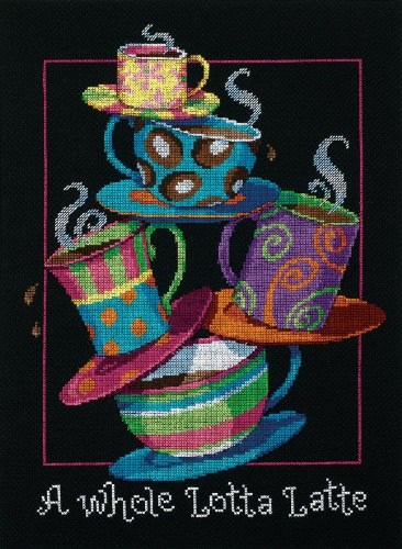 Dimensions 'A Whole Lotta Latte' Counted Cross Stitch Kit, 14 Count Black Aida, 11
