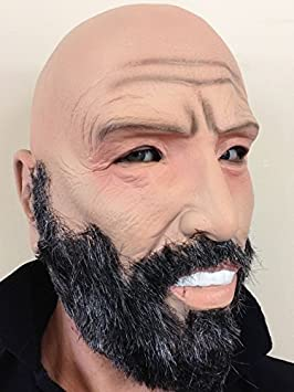 Calvo Anciano Completo De Látex Máscara Gris Barba Abuelo Fancy Dress