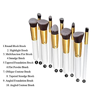 A&G?Professional Makeup Brushes Brush Cosmetic Set Make up Brushes Eye hadow Eyebrow Shadow Powder Cosmetics Tools Kit (10pcs White Handle + Golden Tube) by Annengjin