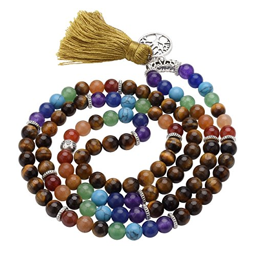 Top Plaza 7 Chakra Mala Prayer Beads 108 Meditation Healing Multilayer Bracelet/Necklace W/Tree of Life Tassel Charm(Tiger Eye Stone)