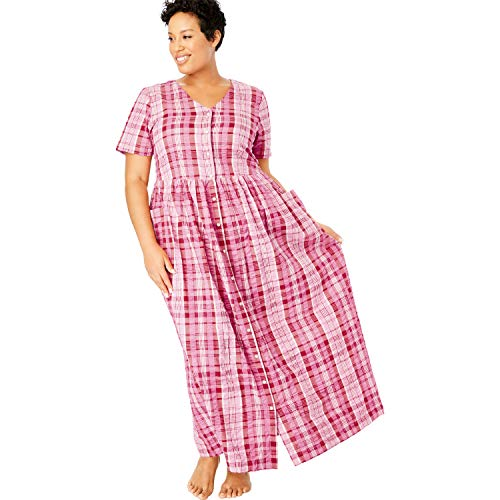 Only Necessities Women's Plus Size Long Seersucker Lounger - Classic Red Plaid, -