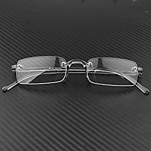 Stylish Bifocal Lightweight Clear Frameless Reading Glasses with Protective Hard Case +1.00
