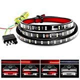Nilight TR-02 60'' Truck Tailgate Bar Double Row LED Flexible Strip Running Turn Signal Brake Reverse Tail Light,Red/White,No-Drilling