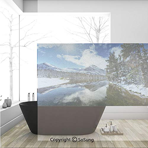 3D Decorative Privacy Window Films,Tranquil View of Glacier National Park in Montana Water Reflection Quiet Peaceful Decorative,No-Glue Self Static Cling Glass film for Home Bedroom Bathroom Kitchen O -