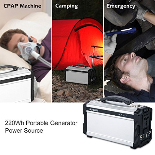 Suaoki 222Wh Portable Generator Power Source CPAP Lithium Battery Pack Power Supply with Silent 110V/60Hz, Max 200W AC Power Inverters, DC 12V & USB Ports, Charged by Solar Panel/ Wall Outlet/ Car by SUAOKI (Image #2)