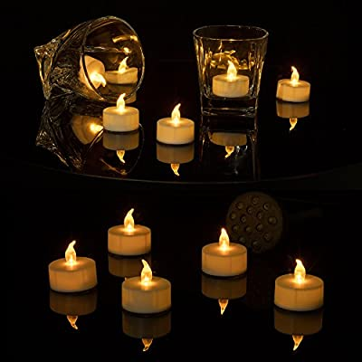 Realistic Bright Flameless LED Tea Light Candles, Bright, Flickering, Battery Powered Fake Candles, Unscented Tea lights, Pack of 24