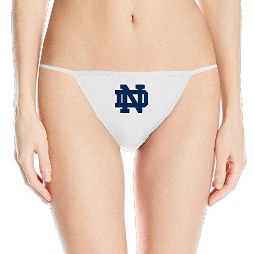 University Of Notre Dame Logo Women's White G String Panties Thong