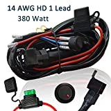 Off Road LED Light Bar Wiring Harness, Ampper 14 AWG Heavy Duty Waterproof Harness Kits for High Watt Led Bar, with 40 A Relay Fuse ON-OFF Switch (11.48 FT, 1 Lead)