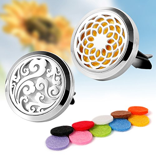 Car Scented Oil Refill (2PCS Aromatherapy Essential Oil Car diffuser Vent Clip Stainless Steel Diffuser Locket - Sunflowr, Cloud)