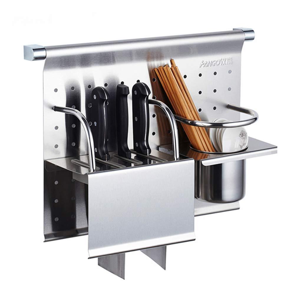 Kitchen Shelf Wall Mount Sticky Board Kitchen Knife Drain Tableware Storage Multifunction Stainless Steel, 410315mm