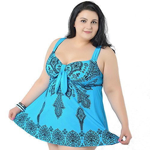 M&Z Coverup Daisy Plus Size Beachwear 2 pieces Swimsuits for Women SkyBlue-10XL