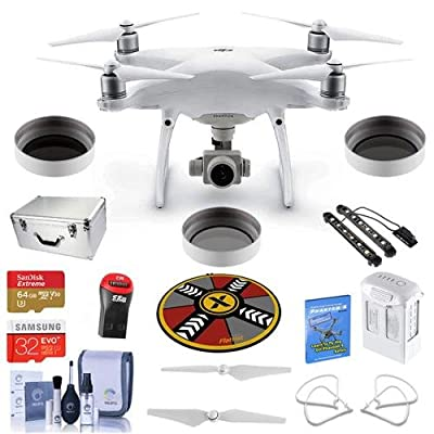 DJI Phantom 4 Advanced Premium Kit - Bundle with DJI Aluminum Case, 64/32GB MicroSDXC Card, Spare Battery, Quick-Release Propellers, Propeller Guard, Collapsible Pad, Polar LED Light Bars, and More