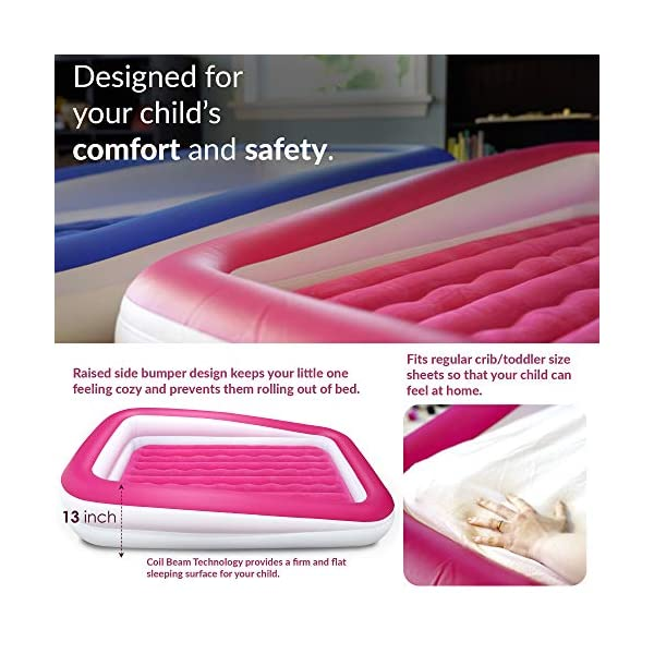 EnerPlex Kids Inflatable Toddler Travel Bed, Portable Air Mattress for Kids, Blow up Mattress with Sides – Built-in Safety Bumper - Pink 2-Year Warranty 5