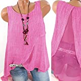 Paymenow Women Vest Tops, Clearance Chiffon Tank Tops Loose Summer Sleeveless Patchwork Back Asymmetric Blouse Shirts (4XL, Hot Pink)