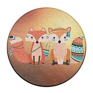 Cute Tribal patrón Fox Animal amante de la naturaleza antideslizante alfombrillas Circular alfombra alfombrillas comedor dormitorio alfombra Felpudo 23.6pulgadas