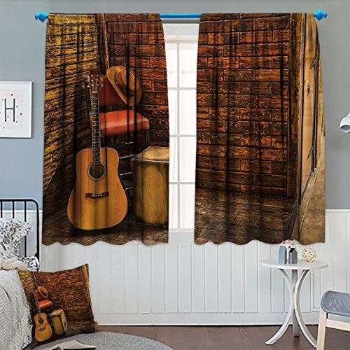 Glass Canopy Pub Bar - Chaneyhouse Music Room Darkening Curtains Music Instruments on Wooden Stage in Pub Beverage Cafe Counter Bar Decor Curtains by 72