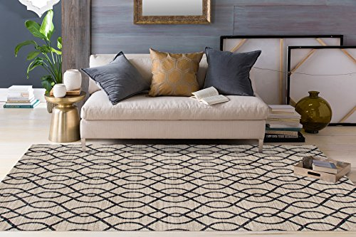 Cheap Modern Trellis Soft Cream 5'3″ x 7'3″ Area Rug