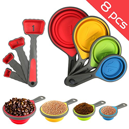 Nlife 8pcs Collapsible Silicone Measuring Cups Measuring Spoons Perfect for Pet Food, Coffee, Supplements, Flour, Grains, Lentils, Spices, Honey, and Liquids (FDA Approved BPA Free Non Toxic)