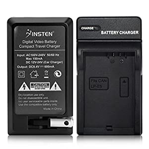 Insten LP-E5 Battery Charger Compatible with Canon EOS Rebel T1i Xsi Xs