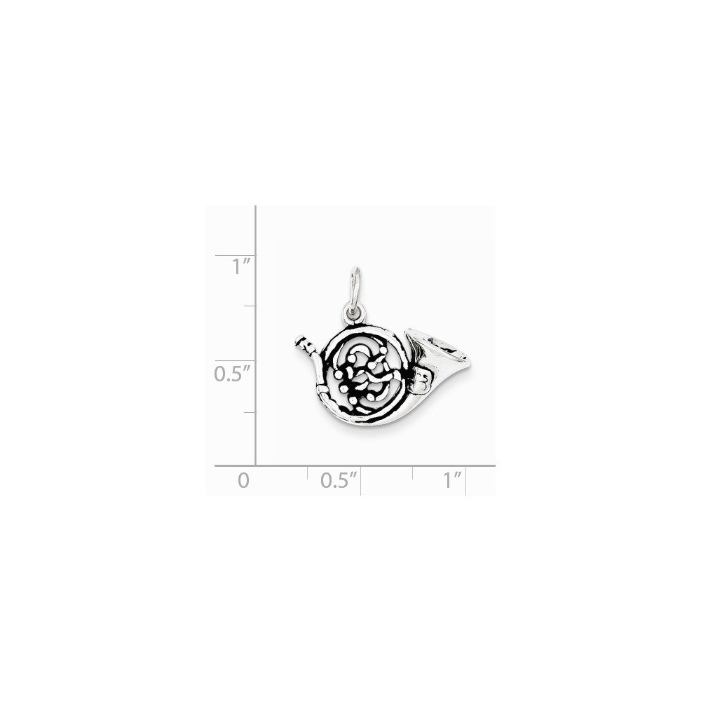 Mireval Sterling Silver Antiqued French Horn Charm on a Sterling Silver Carded Box Chain Necklace 18