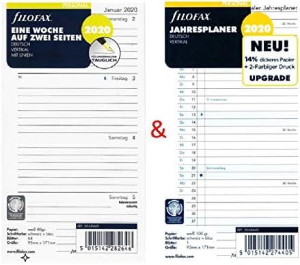 Eine Woche auf zwei Seiten vertikal mit Linien und Jahresplaner 2020 Filofax Kalendereinlagen Set Pocket
