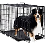 "Dog Crate Dog Cage Pet Crate 48"" Folding Metal Pet Cage Double Door W/Divider Panel Dog Kennel Leak-Proof Plastic Tray Wire Animal Cage"