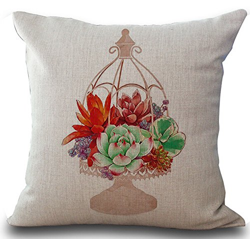 - Fresh Colorful Hand-painted Potted Succulents Hanging Baskets Home Cotton Linen Throw Pillow Case Personalized Cushion Cover NEW Home Office Decorative Square 18 X 18 Inches