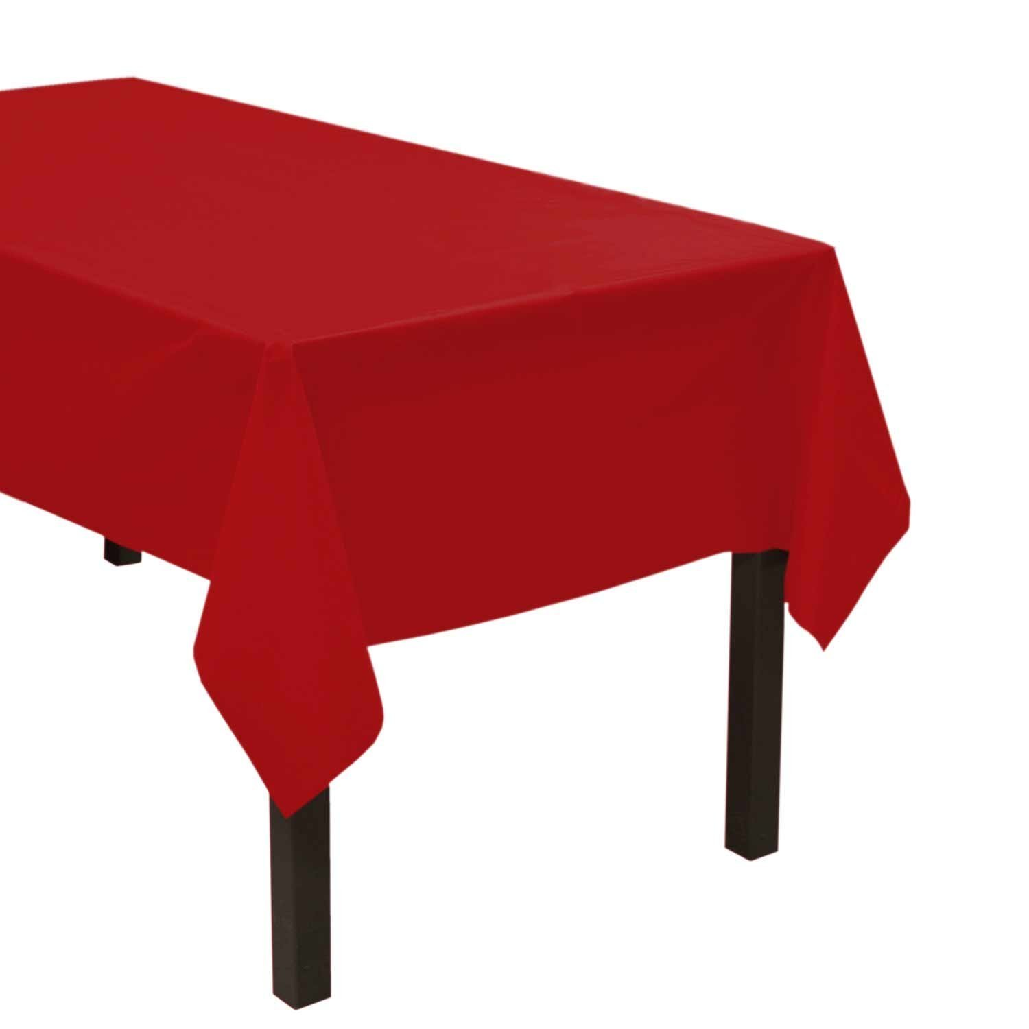 12 Pack 54'' X 108'' Table Cover Premium Plastic Tablecloth for any Party or Event - RED