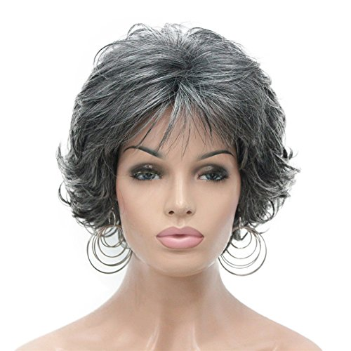 Aimole Short Curly Synthetic Wigs Full Capless Hair Womens Thick Wig for Everyday Grey Hair Wigs #AB009