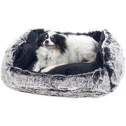 PETMAKER Small Faux Fur Black Mink Dog Bed, 23 x 19