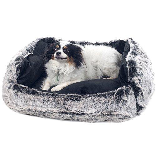 "PETMAKER Small Faux Fur Black Mink Dog Bed, 23 x 19"""